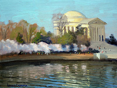Jefferson Memorial Painting - Cherry Blossoms Morning - Washington Dc by Armand Cabrera