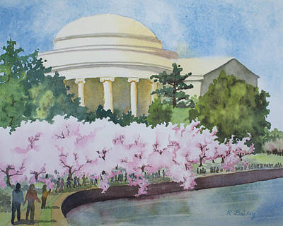 Tidal Basin Painting - Cherry Blossoms On Parade by Ruth Bailey