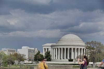 Petals Photograph - Cherry Blossoms With Jefferson Memorial - Washington Dc - 011340 by DC Photographer