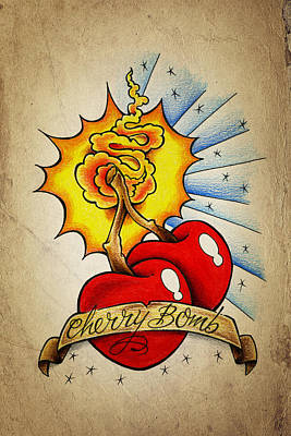Cherry Drawing - Cherry Bomb by Samuel Whitton