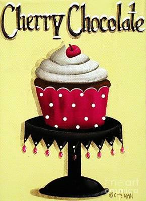 Cherry Chocolate Cupcake Print by Catherine Holman