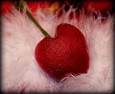 Cherry Heart Print by Linda Sannuti