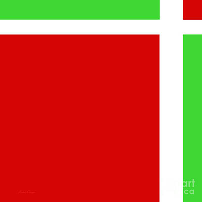 Minimal Digital Art - Cherry Limeade Square by Andee Design