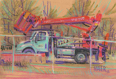 Pickers Drawing - Cherry Picker by Donald Maier