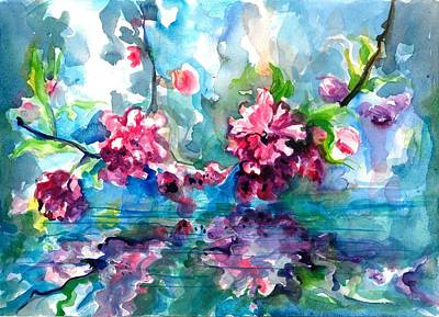 Cherry Tree Blossom Mirroring In Water Print by Tiberiu Soos