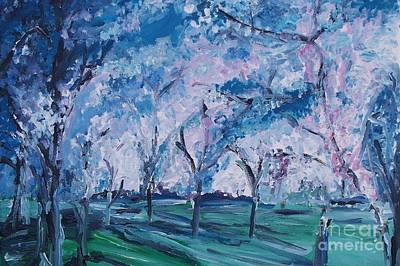 Cherry Trees Drawing - Cherry Trees Impressionism by Eric  Schiabor