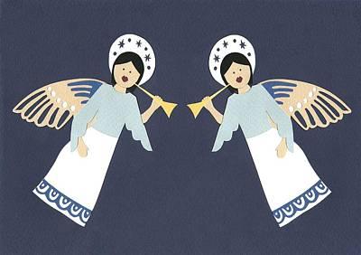 Fluttering Painting - Cherubs by Isobel Barber