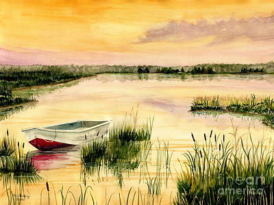 Boats In Water Painting - Chesapeake Marsh by Melly Terpening