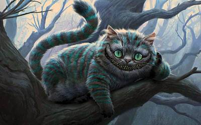 Alice In Wonderland Digital Art - Cheshire Cat by Movie Poster Prints