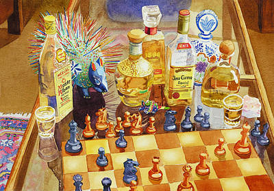 Bottles Painting - Chess And Tequila by Mary Helmreich