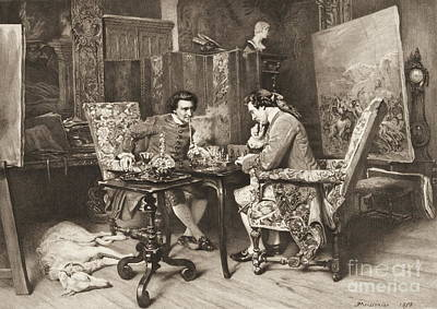 Table Wine Photograph - Chess Game 1898 by Padre Art