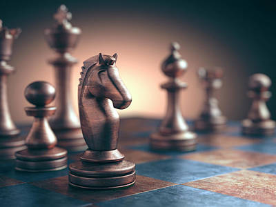 Chess Piece On Chess Board Print by Ktsdesign