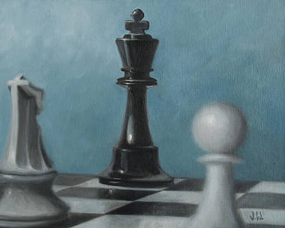 Board Game Painting - Chess Pieces by Joe Winkler