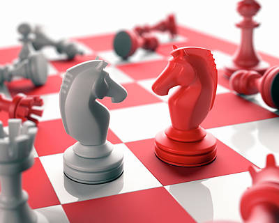Chess Pieces On Chess Board Print by Ktsdesign