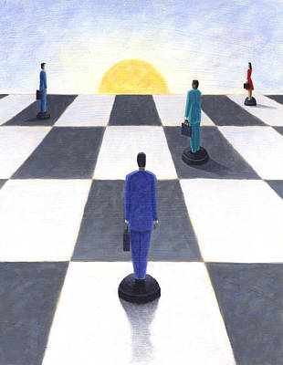 Chessmen Print by Steve Dininno