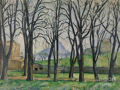 Ground Painting - Chestnut Trees At Jas De Bouffan by Paul Cezanne