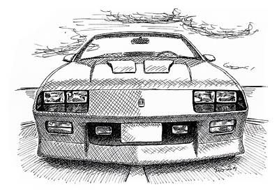 Muscle Car Drawings Painting - Chevrolet Caramo Z28 by Milan Surkala