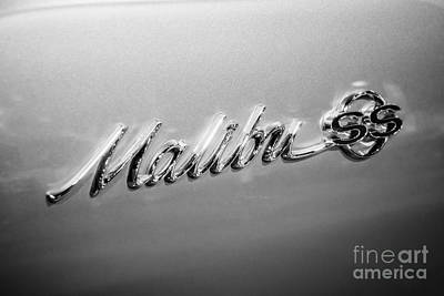Malibu Photograph - Chevrolet Malibu Ss Emblem Black And White Picture by Paul Velgos