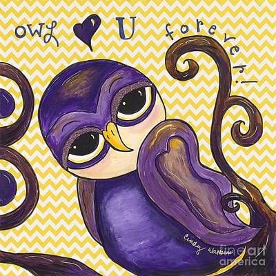 Chevron Owl Painting - Chevron Owl Love You Forever by Cindy Watkins