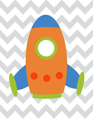 Space Ships Painting - Chevron Rocket I by Tamara Robinson