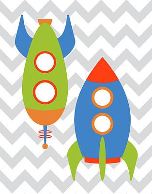 Space Ships Painting - Chevron Rocket Iv by Tamara Robinson