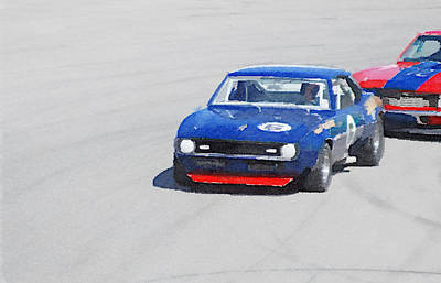Chevy Painting - Chevy Camaro On Race Track Watercolor by Naxart Studio