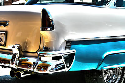 Chevy Car Art Teal And White Rear End Print by Lesa Fine