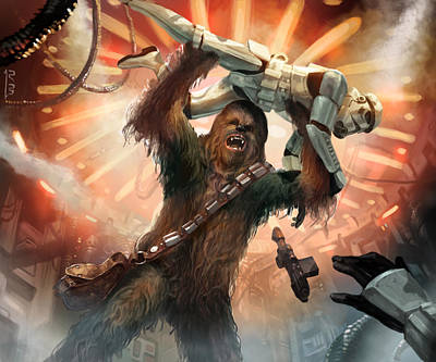 Stars Digital Art - Chewbacca - Star Wars The Card Game by Ryan Barger