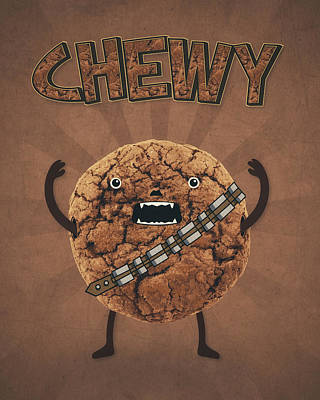 Chewy Chocolate Cookie Wookiee Print by Philipp Rietz
