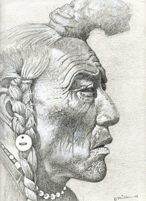 Native American Spirit Portrait Drawing - Cheyenne Medicine Man by Bern Miller