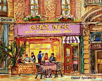 Brunch Painting - Chez Nicks Restaurant Paris Style Bistro Paintings Art Of Montreal City Scenes Romantic Diners  by Carole Spandau