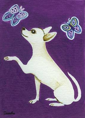 Chihuahua Painting - Chhihuahua With Butterflies by Lori Ziemba