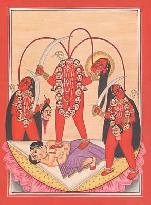Hindu Goddess Drawing - Chhinnamasta Kali Kalika Tantric Yogi Kundalini Meditation India Painting Artwork India by A K Mundhra