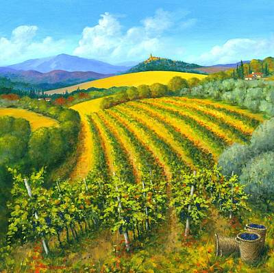Hill Top Village Painting - Chianti Feeling 30 X 30 by Michael Swanson