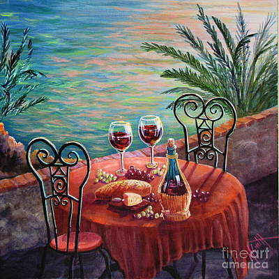 Bread And Cheese Painting - Chianti Time by Marilyn Smith