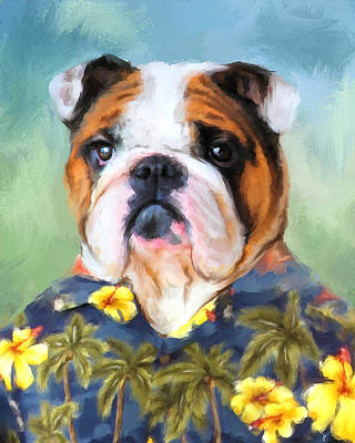 Bulldog Painting - Chic English Bulldog by Jai Johnson