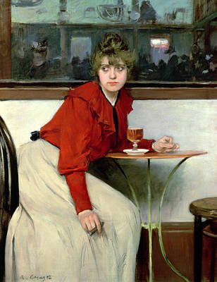 Casa Painting - Chica In A Bar by Ramon Casas i Carbo