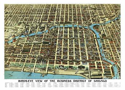 Vintage Map Painting - Chicago - Illinois - 1898 by Pablo Romero