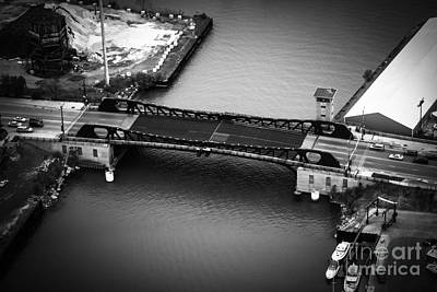Chicago 95th Street Bridge Aerial Black And White Picture Print by Paul Velgos