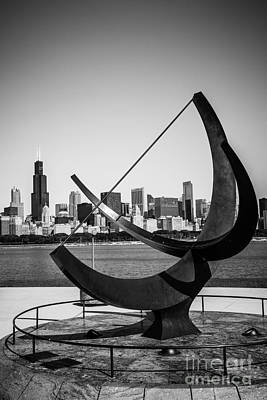 Chicago Adler Planetarium Sundial In Black And White Print by Paul Velgos