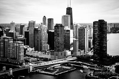 Chicago Aerial Picture Of Streeterville In Black And White Print by Paul Velgos