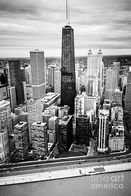 Chicago Aerial With Hancock Building In Black And White Print by Paul Velgos