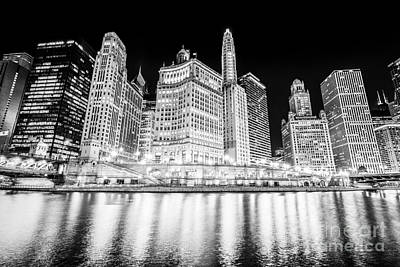Columbus Drive Photograph - Chicago At Night Black And White Picture by Paul Velgos