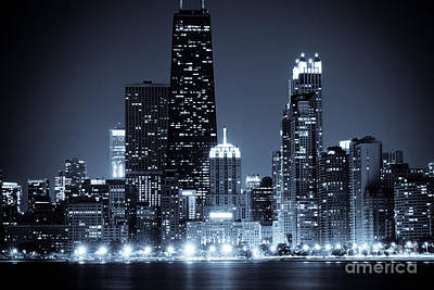 Chicago At Night With Hancock Building Print by Paul Velgos