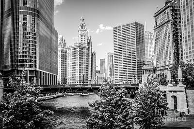 Chicago At Wabash Bridge Black And White Picture Print by Paul Velgos