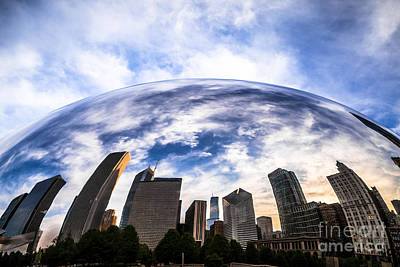 Cloud Gate Photograph - Chicago Bean Cloud Gate Skyline by Paul Velgos