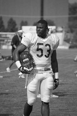 Chicago Bears Lb Jerry Franklin Training Camp 2014 Bw Print by Thomas Woolworth