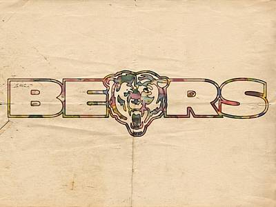 Chicago Painting - Chicago Bears Vintage Art by Florian Rodarte