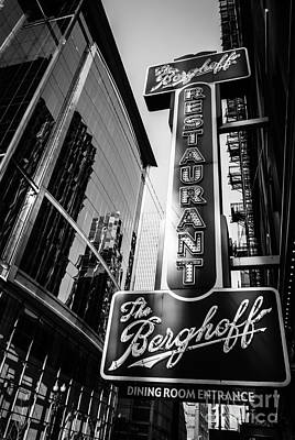 Chicago Berghoff Restaurant Sign In Black And White Print by Paul Velgos