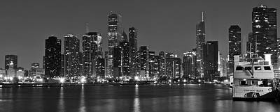 Black Commerce Photograph - Chicago Black And White Panoramic by Frozen in Time Fine Art Photography